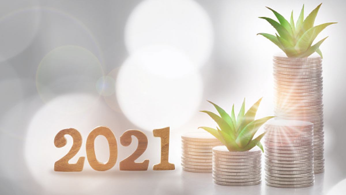 2021 new year saving with return on investment concept and sustainable economic growth idea